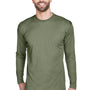 UltraClub Mens Cool & Dry Performance Moisture Wicking Long Sleeve Crewneck T-Shirt - Military Green