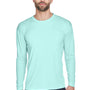 UltraClub Mens Cool & Dry Performance Moisture Wicking Long Sleeve Crewneck T-Shirt - Sea Frost Green