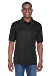 UltraClub 8425 Mens Cool & Dry Performance Moisture Wicking Short Sleeve Polo Shirt Black Front