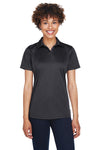 UltraClub 8425L Womens Cool & Dry Performance Moisture Wicking Short Sleeve Polo Shirt Black Front
