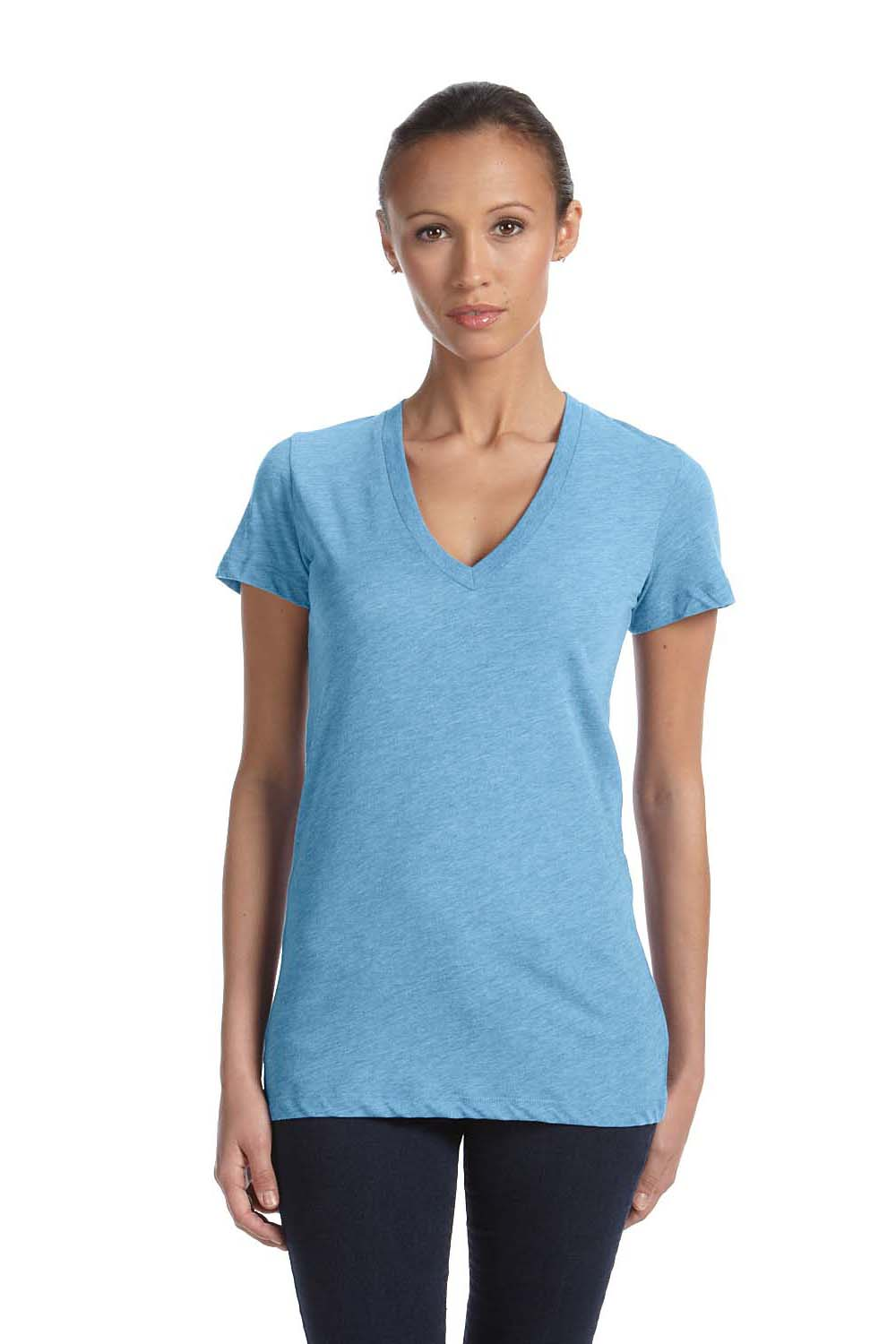 Bella + Canvas 8435 Womens Short Sleeve Deep V-Neck T-Shirt Athletic Blue Front