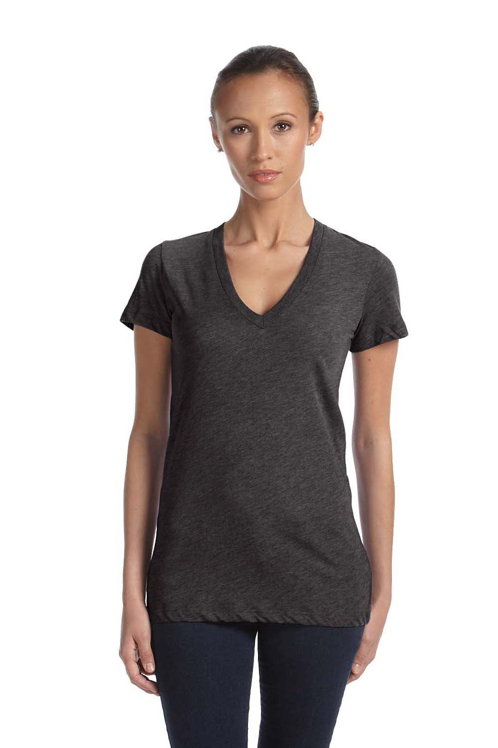 Bella + Canvas 8435 Womens Short Sleeve Deep V-Neck T-Shirt Heather Charcoal Grey Front