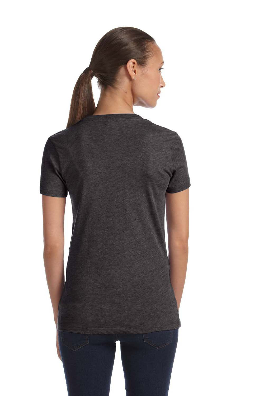 Bella + Canvas 8435 Womens Short Sleeve Deep V-Neck T-Shirt Heather Charcoal Grey Back