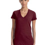 Bella + Canvas Womens Short Sleeve Deep V-Neck T-Shirt - Maroon