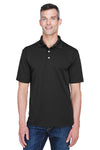 UltraClub 8445 Mens Cool & Dry Performance Moisture Wicking Short Sleeve Polo Shirt Black Front