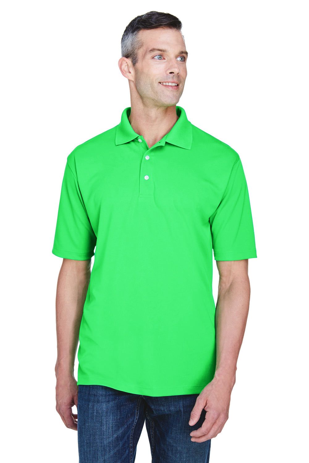 UltraClub 8445 Mens Cool & Dry Performance Moisture Wicking Short Sleeve Polo Shirt Cool Green Front