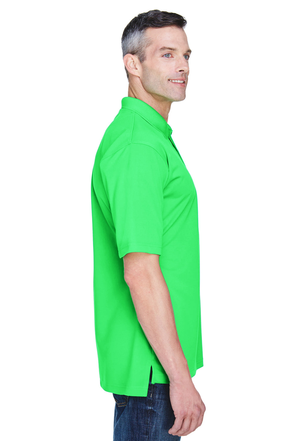 UltraClub 8445 Mens Cool & Dry Performance Moisture Wicking Short Sleeve Polo Shirt Cool Green Side
