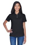 UltraClub 8445L Womens Cool & Dry Performance Moisture Wicking Short Sleeve Polo Shirt Black Front