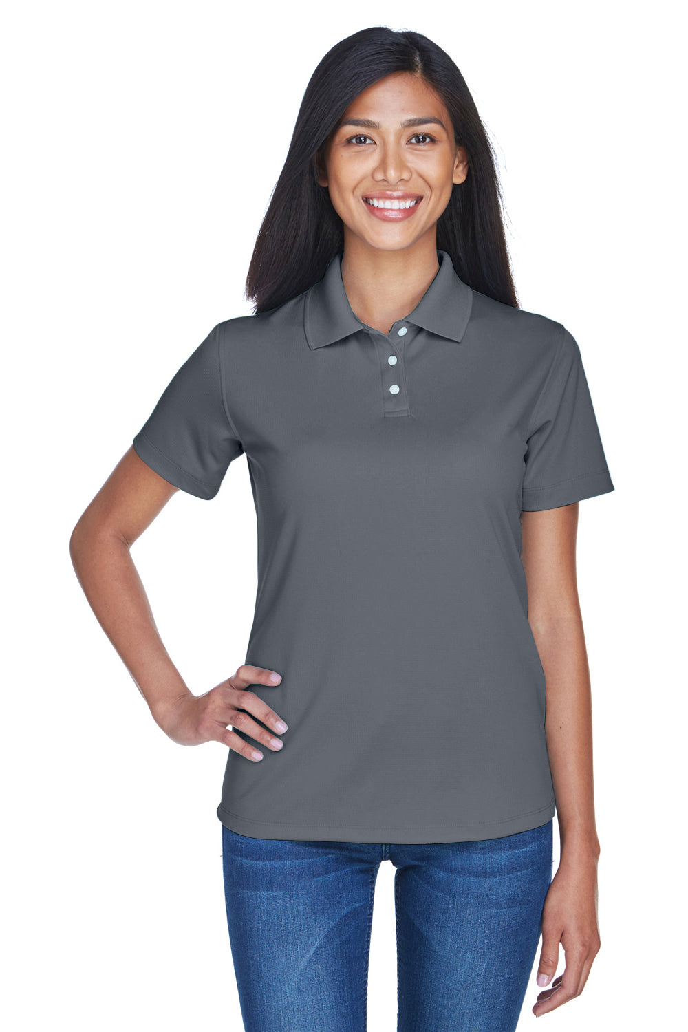 UltraClub 8445L Womens Cool & Dry Performance Moisture Wicking Short Sleeve Polo Shirt Charcoal Grey Front