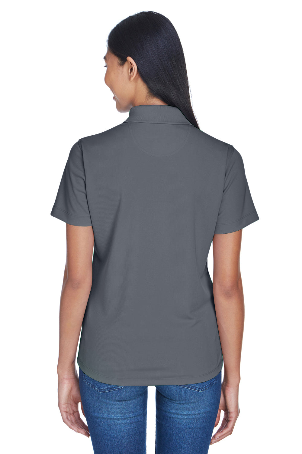 UltraClub 8445L Womens Cool & Dry Performance Moisture Wicking Short Sleeve Polo Shirt Charcoal Grey Back