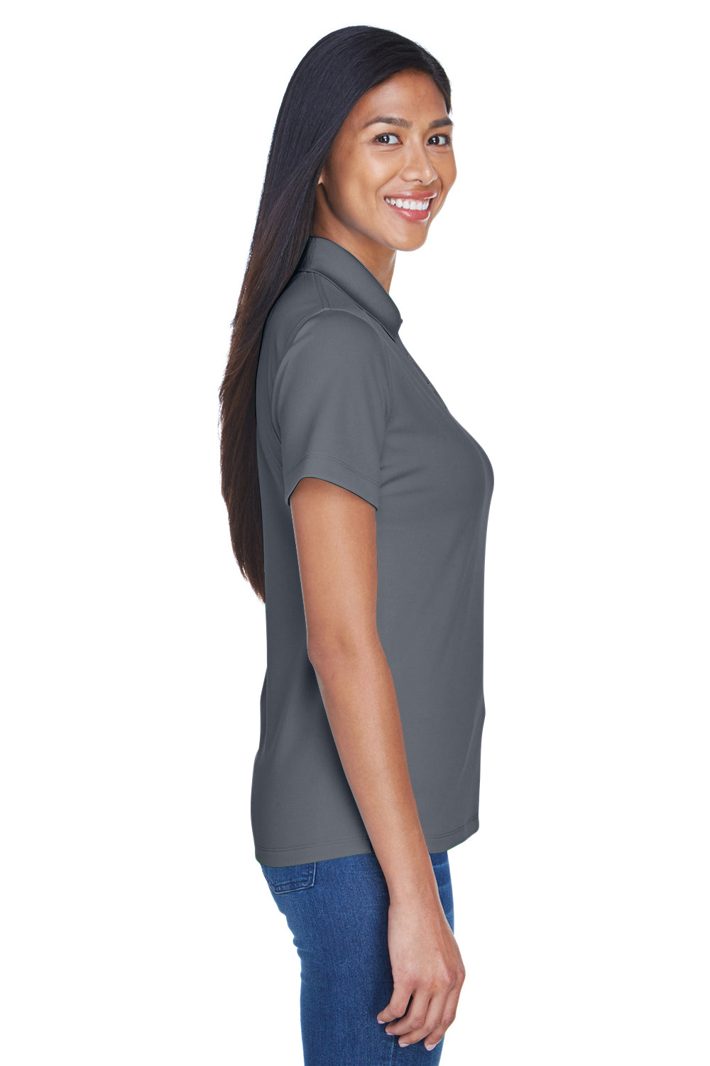 UltraClub 8445L Womens Cool & Dry Performance Moisture Wicking Short Sleeve Polo Shirt Charcoal Grey Side