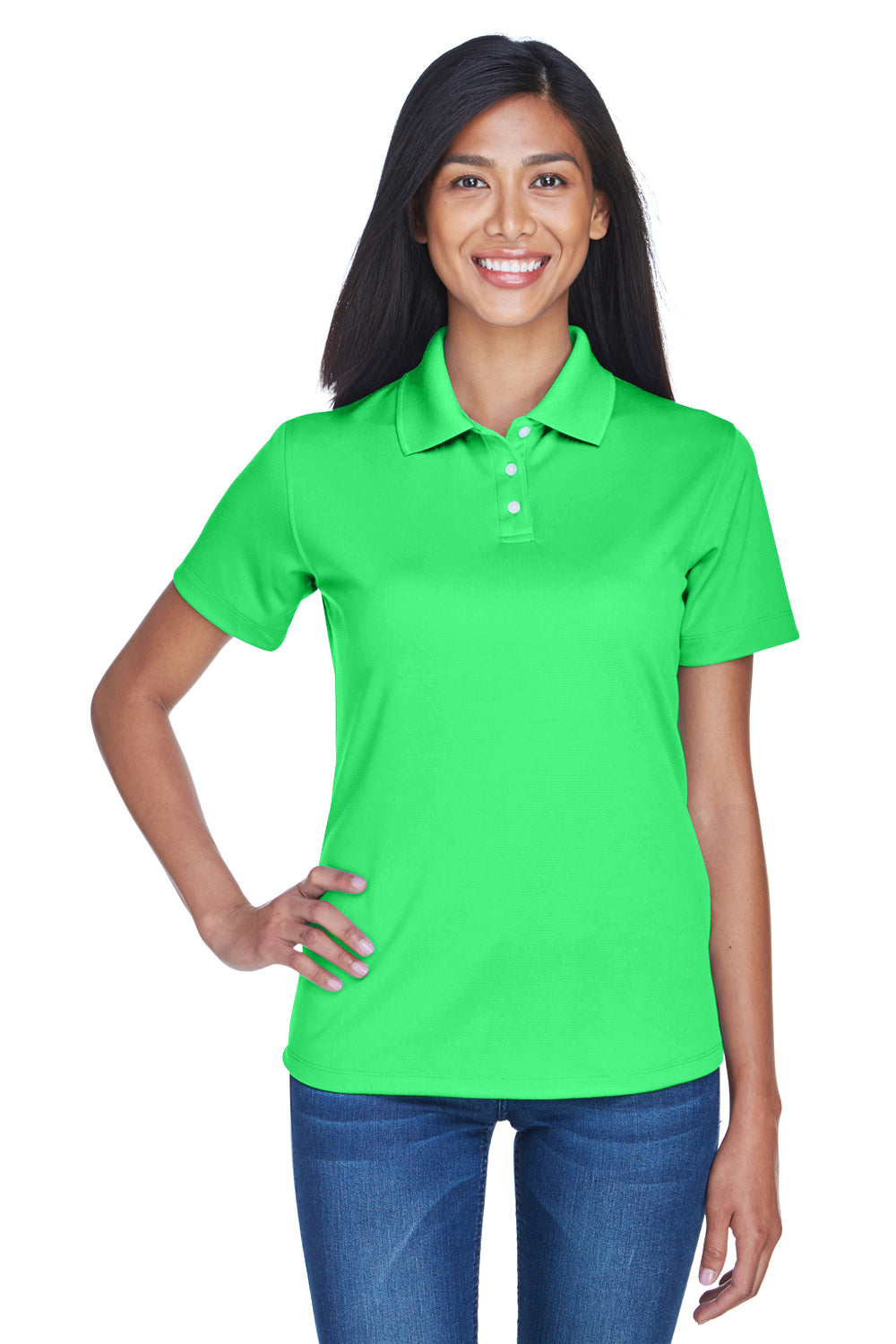 UltraClub 8445L Womens Cool & Dry Performance Moisture Wicking Short Sleeve Polo Shirt Cool Green Front