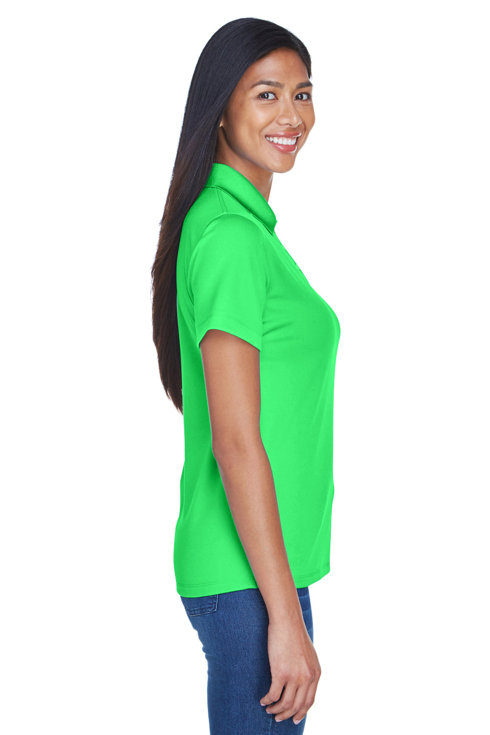 UltraClub 8445L Womens Cool & Dry Performance Moisture Wicking Short Sleeve Polo Shirt Cool Green Side