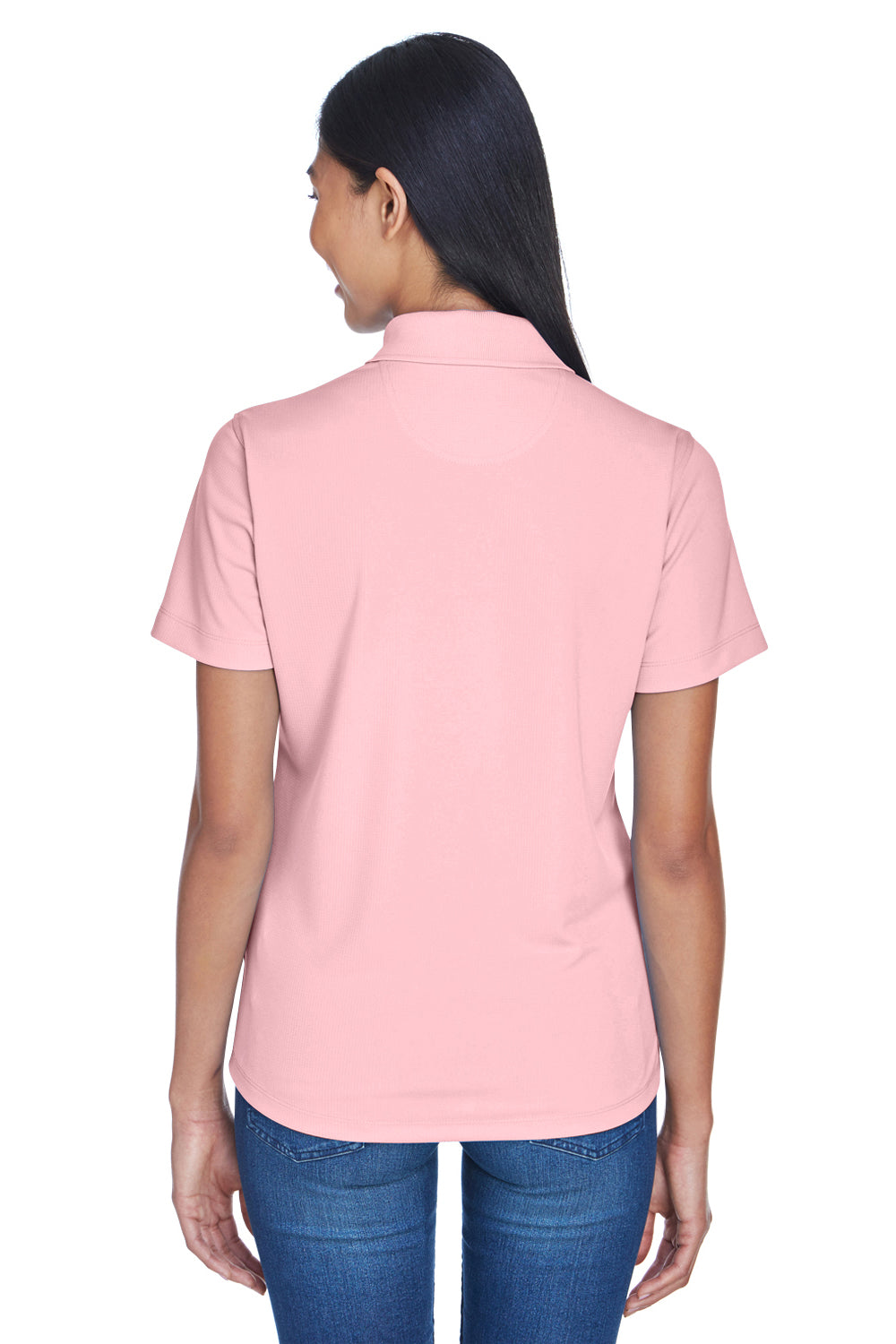 UltraClub 8445L Womens Cool & Dry Performance Moisture Wicking Short Sleeve Polo Shirt Pink Back