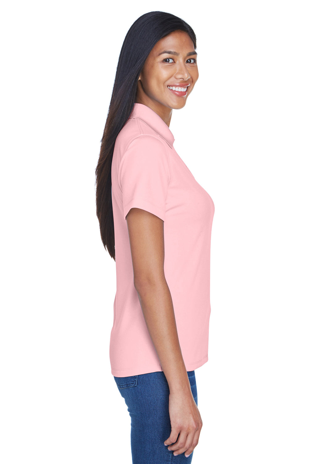 UltraClub 8445L Womens Cool & Dry Performance Moisture Wicking Short Sleeve Polo Shirt Pink Side