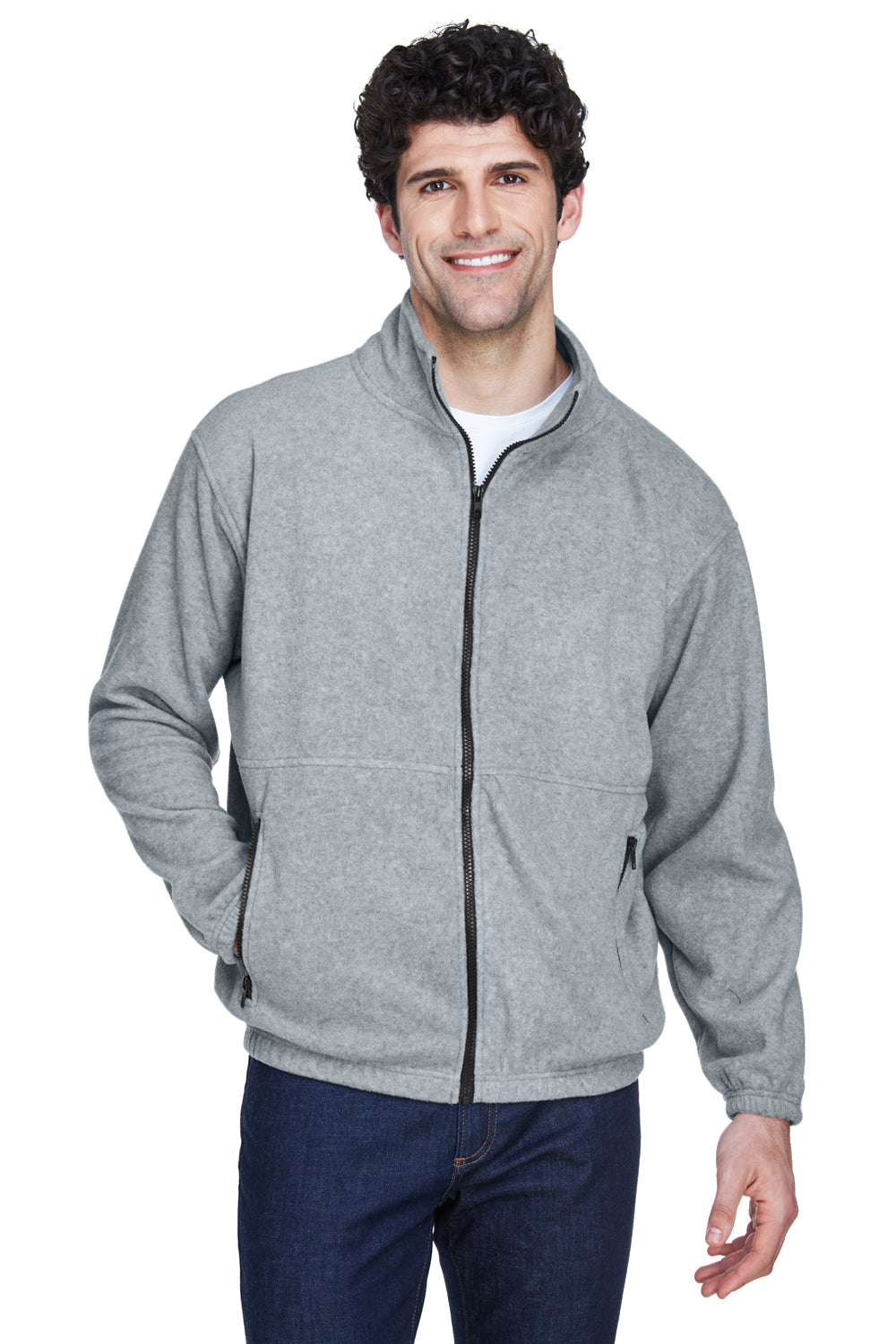 UltraClub 8485 Mens Iceberg Full Zip Fleece Jacket Heather Grey Front