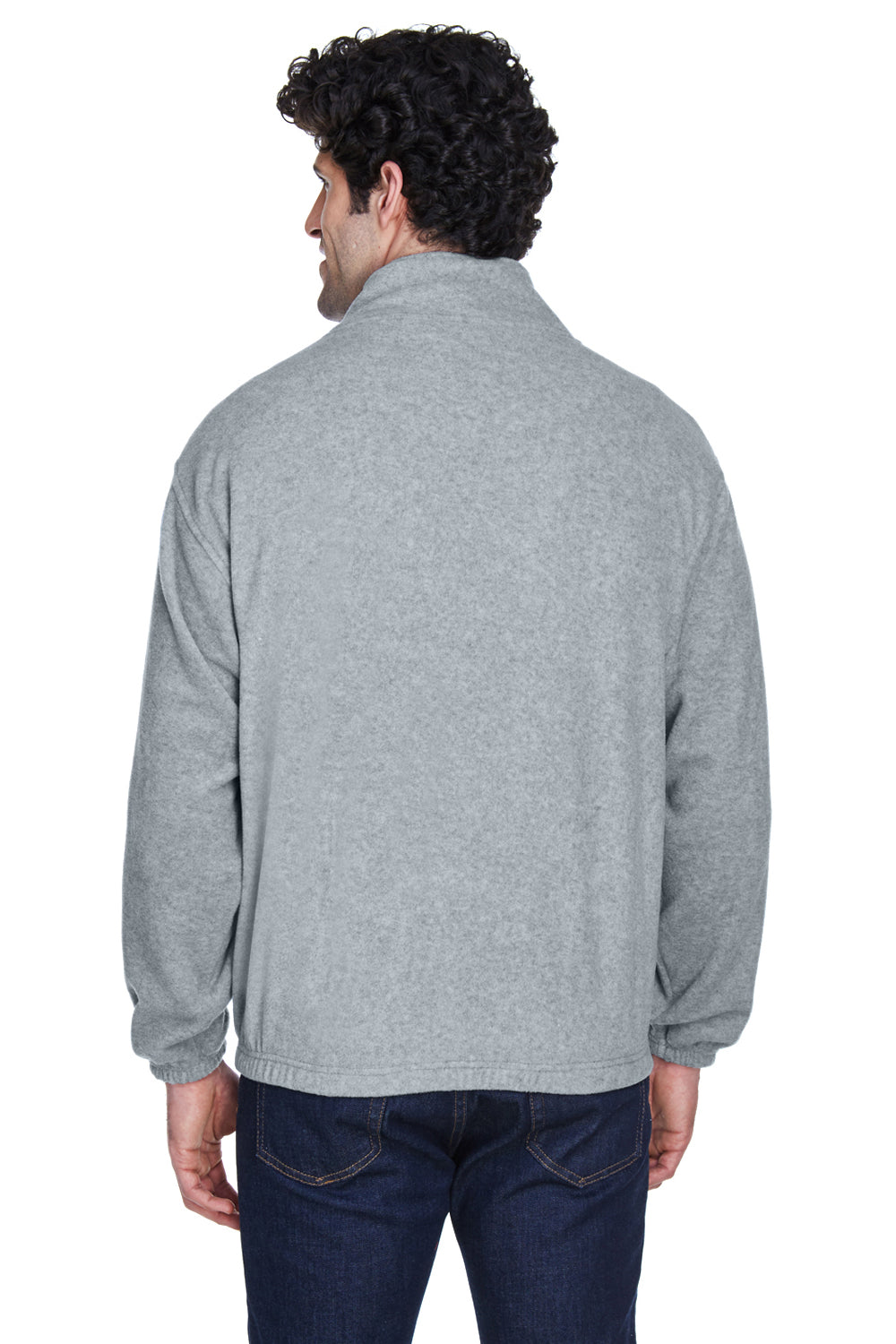 UltraClub 8485 Mens Iceberg Full Zip Fleece Jacket Heather Grey Back