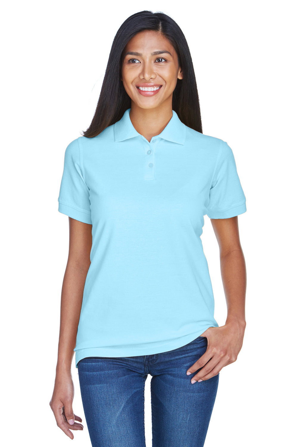 UltraClub 8530 Womens Classic Short Sleeve Polo Shirt Baby Blue Front