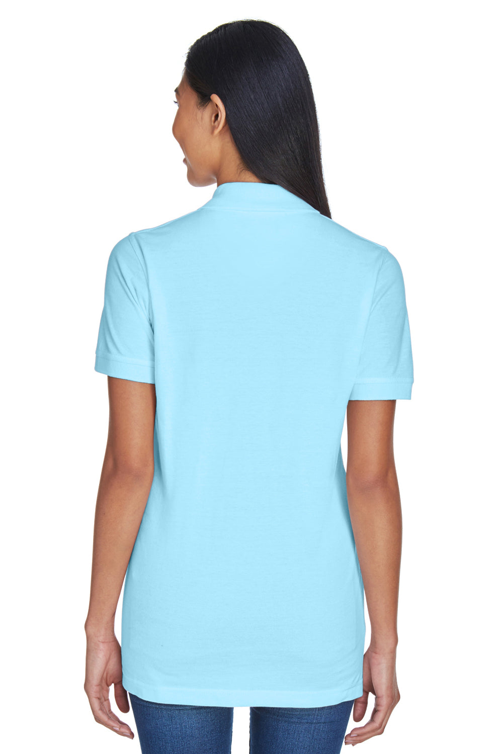 UltraClub 8530 Womens Classic Short Sleeve Polo Shirt Baby Blue Back