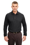 UltraClub 8532 Mens Classic Long Sleeve Polo Shirt Black Front