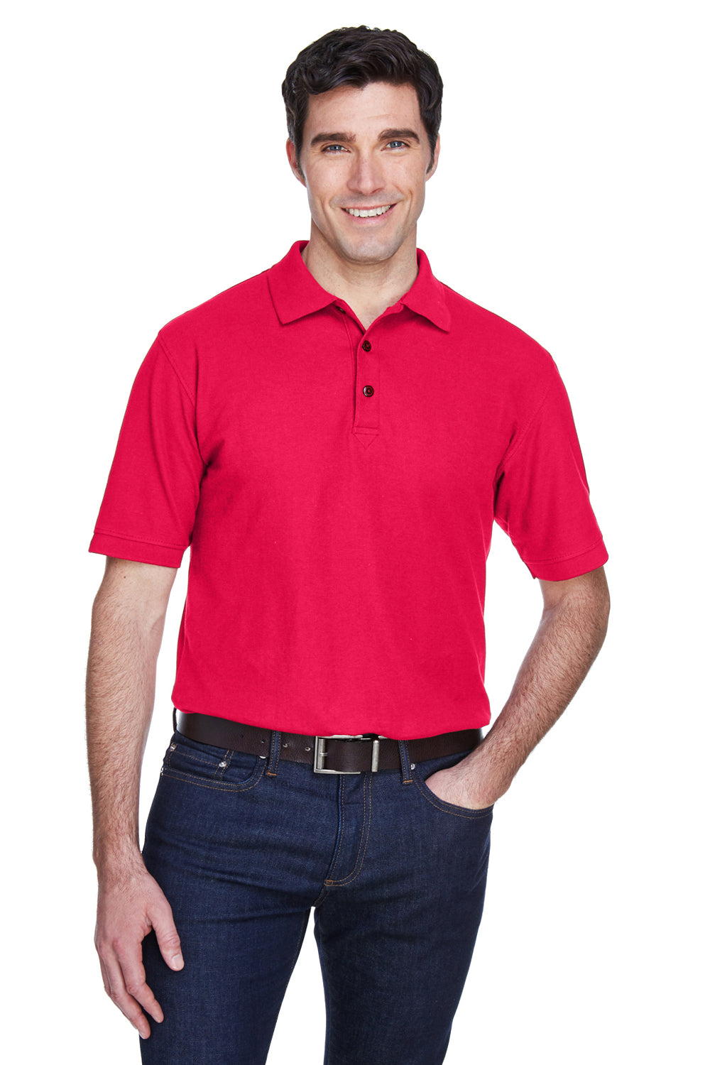 UltraClub 8540 Mens Whisper Short Sleeve Polo Shirt Red Front