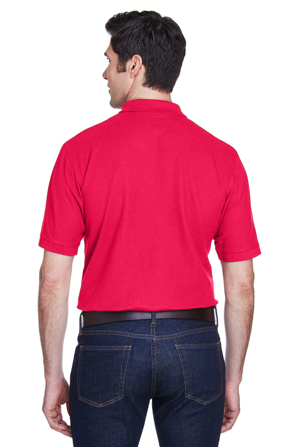 UltraClub 8540 Mens Whisper Short Sleeve Polo Shirt Red Back