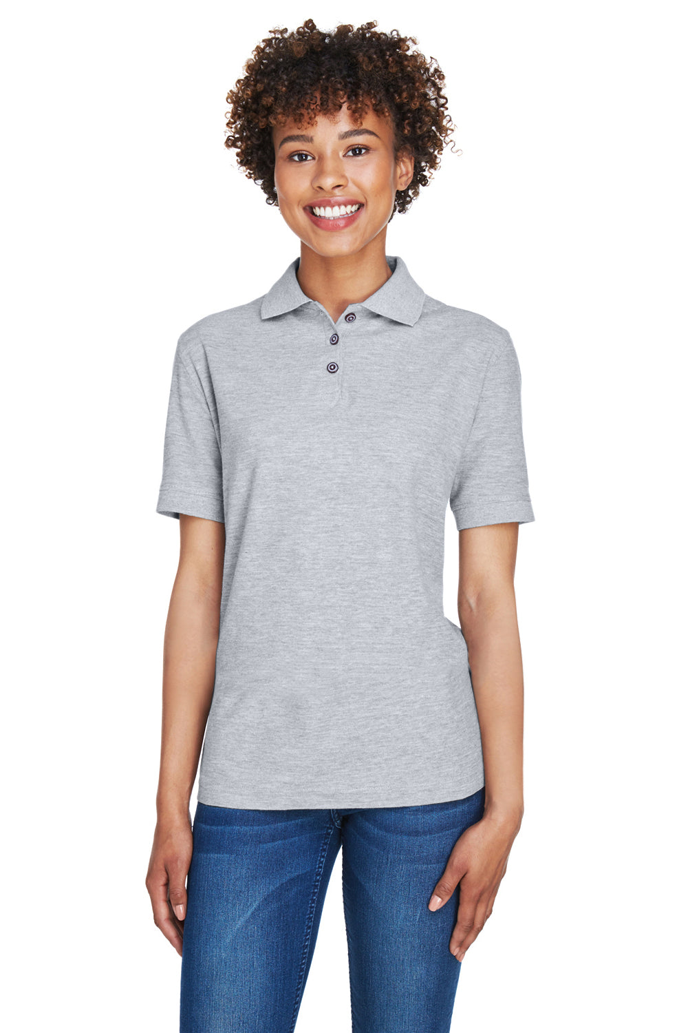 UltraClub 8541 Womens Whisper Short Sleeve Polo Shirt Heather Grey Front