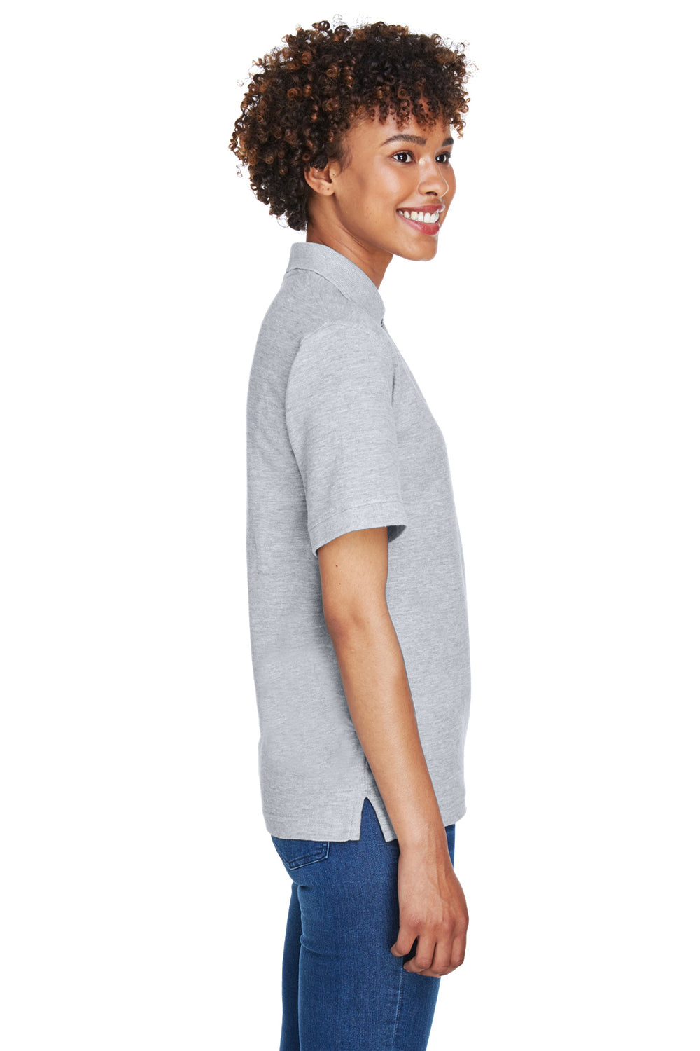 UltraClub 8541 Womens Whisper Short Sleeve Polo Shirt Heather Grey Side