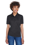 UltraClub 8610L Womens Cool & Dry 8 Star Elite Performance Moisture Wicking Short Sleeve Polo Shirt Black Front