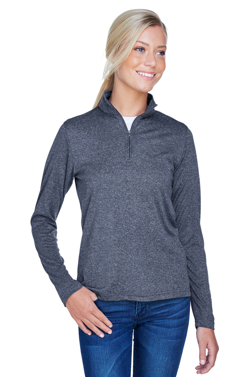 UltraClub 8618W Womens Heather Cool & Dry Performance Moisture Wicking 1/4 Zip Sweatshirt Navy Blue Front