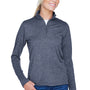 UltraClub Womens Heather Cool & Dry Performance Moisture Wicking 1/4 Zip Sweatshirt - Heather Navy Blue