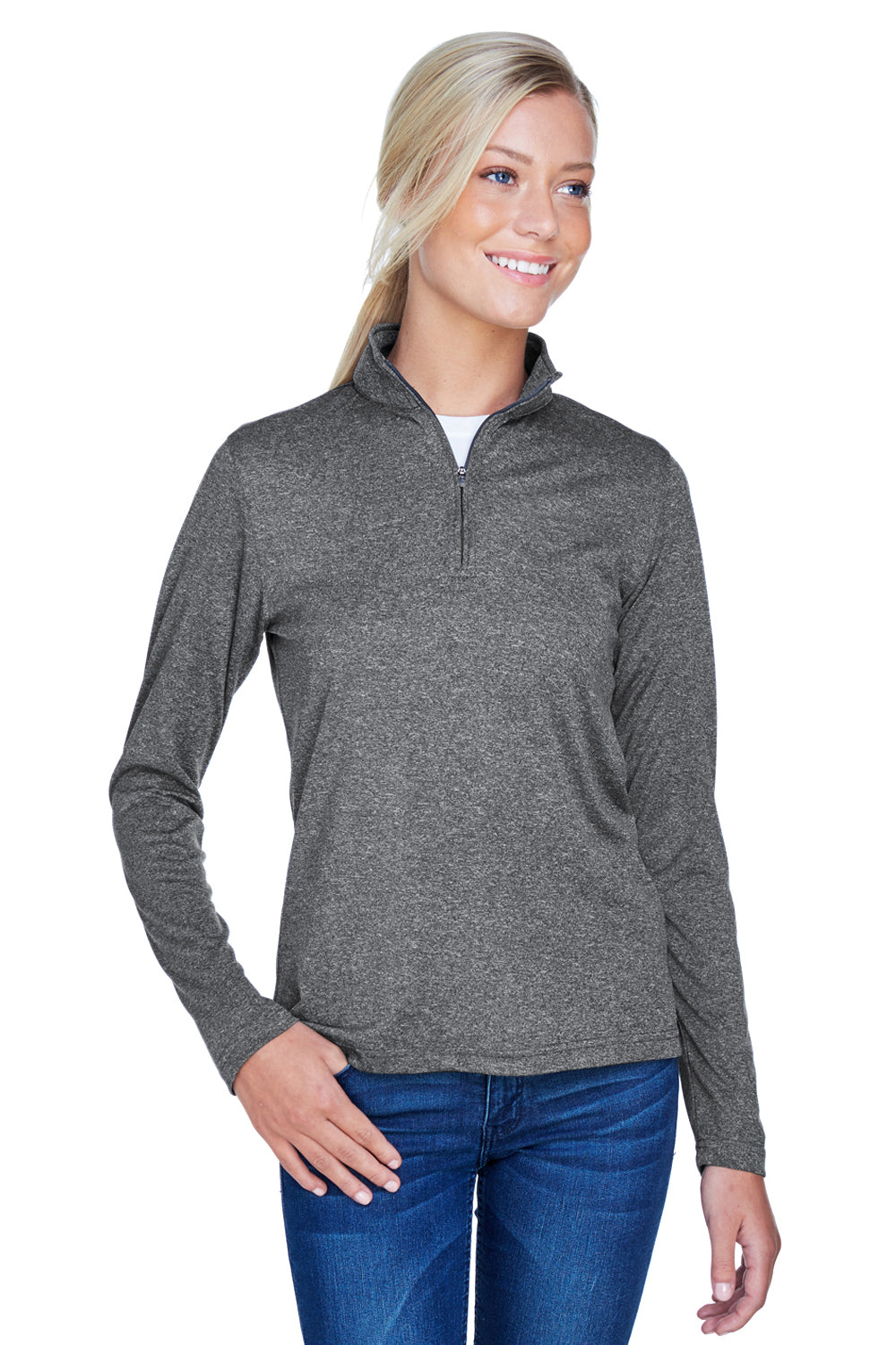 UltraClub 8618W Womens Heather Cool & Dry Performance Moisture Wicking 1/4 Zip Sweatshirt Black Front