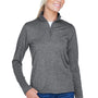 UltraClub Womens Heather Cool & Dry Performance Moisture Wicking 1/4 Zip Sweatshirt - Heather Black