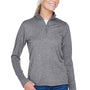 UltraClub Womens Heather Cool & Dry Performance Moisture Wicking 1/4 Zip Sweatshirt - Heather Charcoal Grey