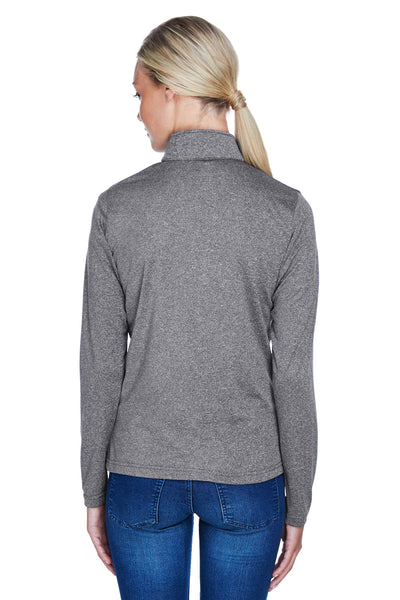 UltraClub 8618W Womens Heather Cool & Dry Performance Moisture Wicking 1/4 Zip Sweatshirt Charcoal Grey Back