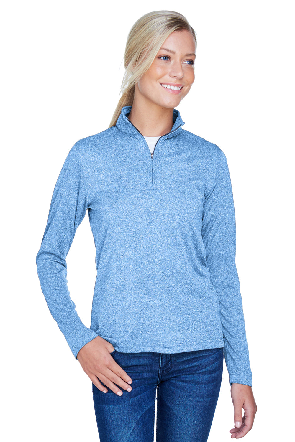 UltraClub 8618W Womens Heather Cool & Dry Performance Moisture Wicking 1/4 Zip Sweatshirt Columbia Blue Front