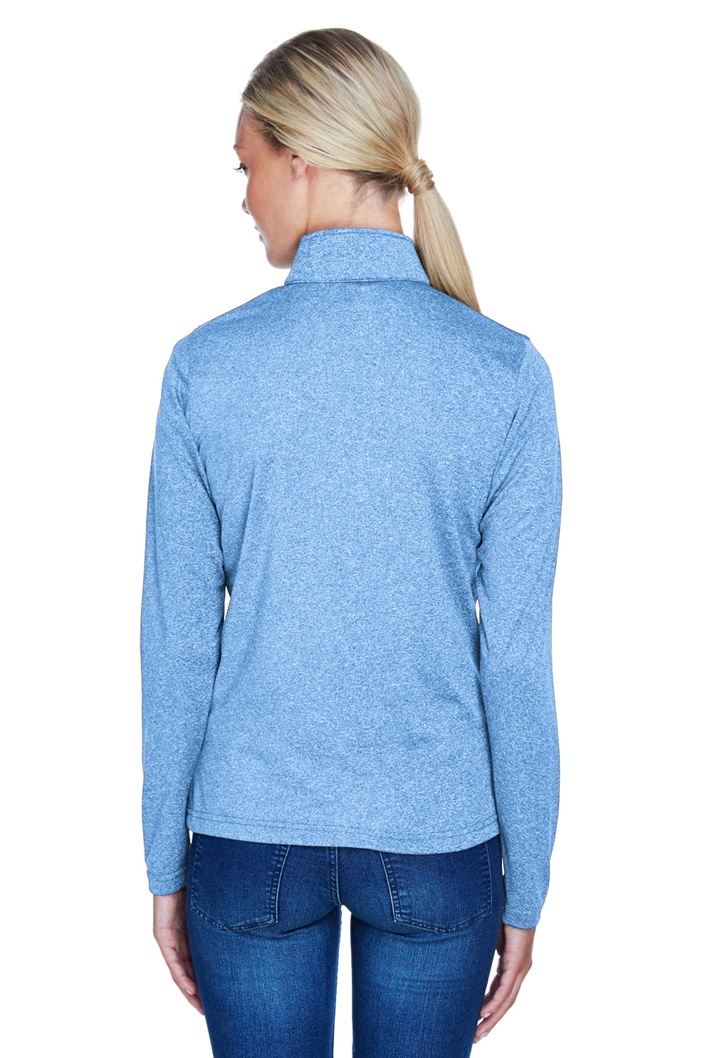 UltraClub 8618W Womens Heather Cool & Dry Performance Moisture Wicking 1/4 Zip Sweatshirt Columbia Blue Back
