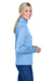 UltraClub 8618W Womens Heather Cool & Dry Performance Moisture Wicking 1/4 Zip Sweatshirt Columbia Blue Side
