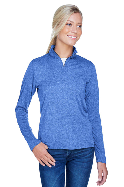 UltraClub 8618W Womens Heather Cool & Dry Performance Moisture Wicking 1/4 Zip Sweatshirt Royal Blue Front