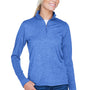 UltraClub Womens Heather Cool & Dry Performance Moisture Wicking 1/4 Zip Sweatshirt - Heather Royal Blue