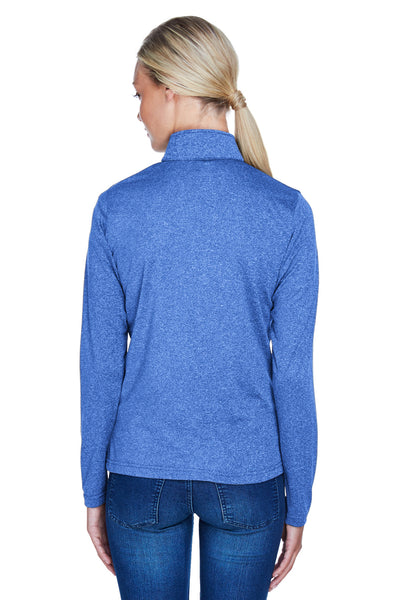 UltraClub 8618W Womens Heather Cool & Dry Performance Moisture Wicking 1/4 Zip Sweatshirt Royal Blue Back