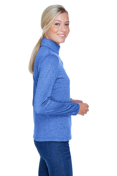 UltraClub 8618W Womens Heather Cool & Dry Performance Moisture Wicking 1/4 Zip Sweatshirt Royal Blue Side