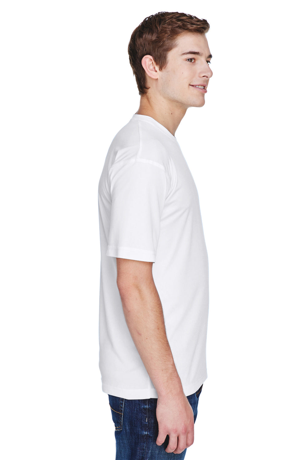 UltraClub 8620 Mens Cool & Dry Performance Moisture Wicking Short Sleeve Crewneck T-Shirt White Side