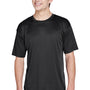 UltraClub Mens Cool & Dry Performance Moisture Wicking Short Sleeve Crewneck T-Shirt - Black