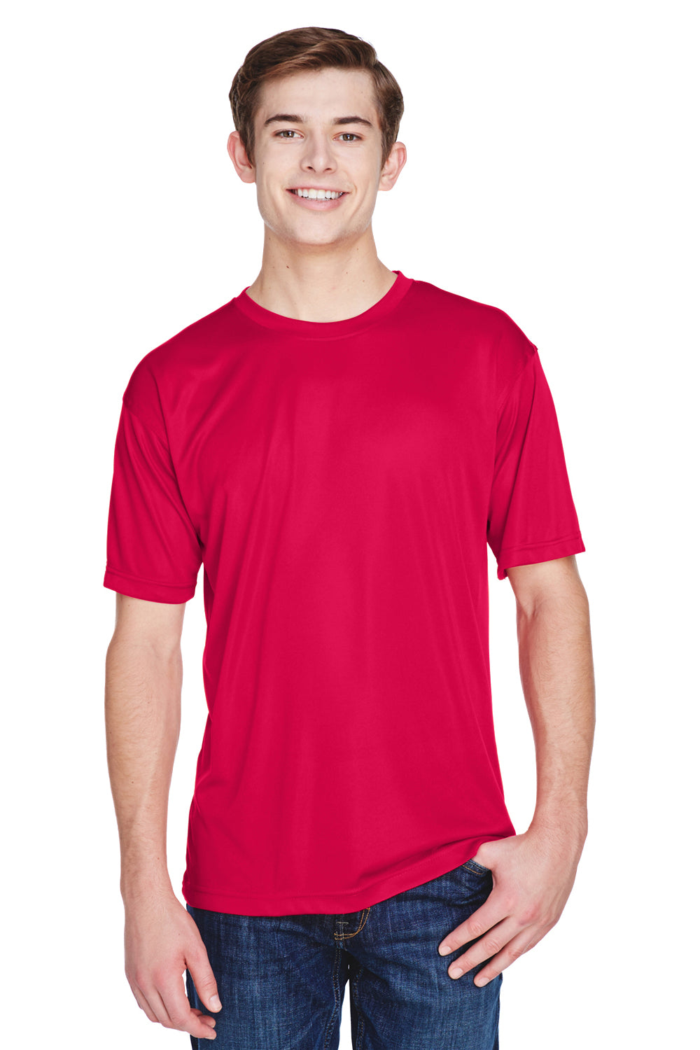 UltraClub 8620 Mens Cool & Dry Performance Moisture Wicking Short Sleeve Crewneck T-Shirt Red Front
