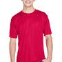 UltraClub Mens Cool & Dry Performance Moisture Wicking Short Sleeve Crewneck T-Shirt - Red