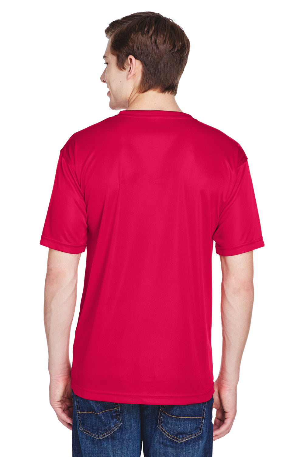 UltraClub 8620 Mens Cool & Dry Performance Moisture Wicking Short Sleeve Crewneck T-Shirt Red Back