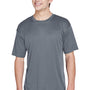 UltraClub Mens Cool & Dry Performance Moisture Wicking Short Sleeve Crewneck T-Shirt - Charcoal Grey