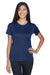 UltraClub 8620L Womens Cool & Dry Performance Moisture Wicking Short Sleeve Crewneck T-Shirt Navy Blue Front