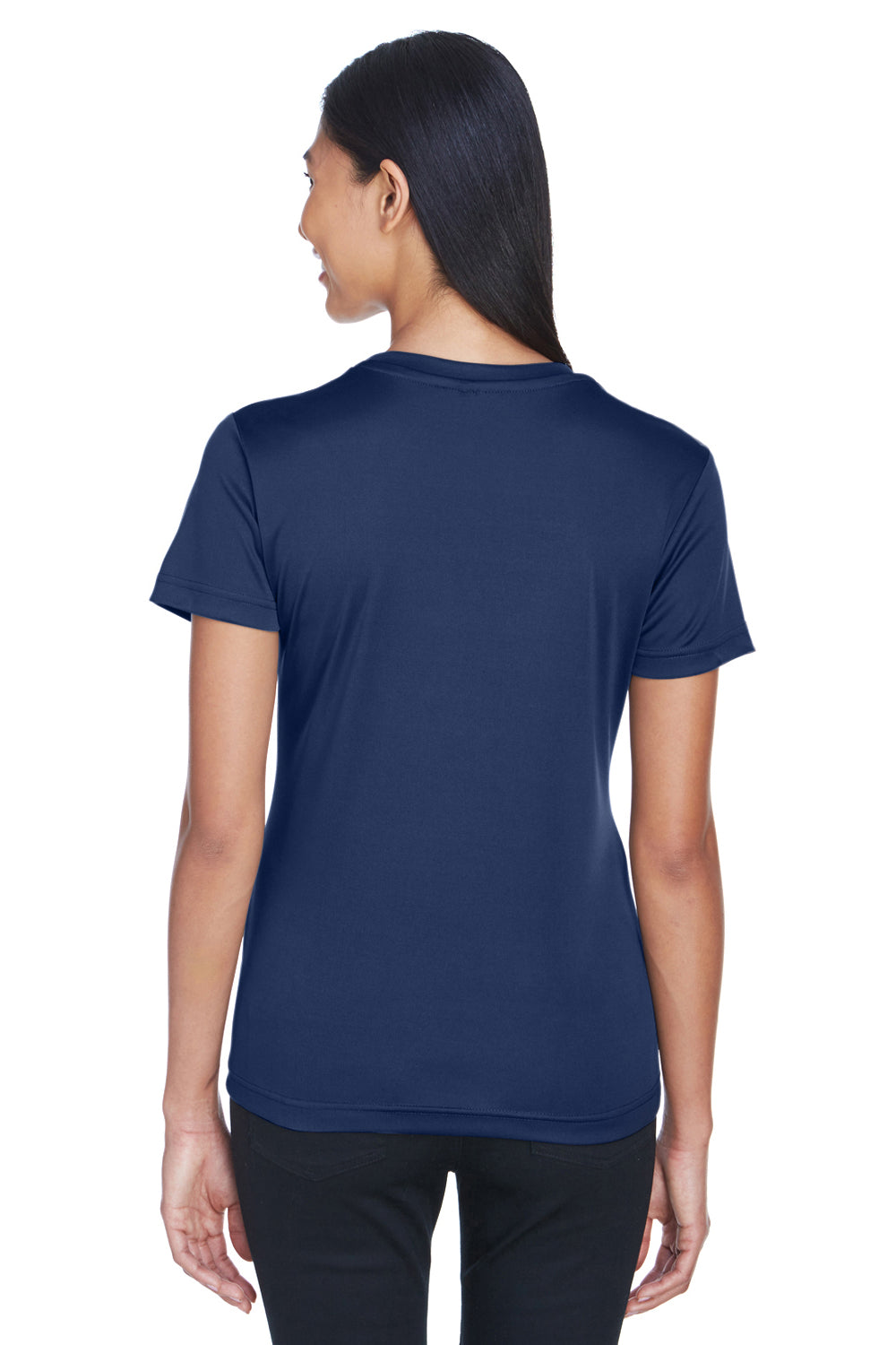 UltraClub 8620L Womens Cool & Dry Performance Moisture Wicking Short Sleeve Crewneck T-Shirt Navy Blue Back